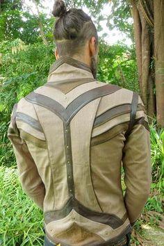 97c7f7b66 mens taurid festival style stretch denim jacket vest with elaborate  detailing Rock Style Men