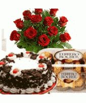12 Red Roses Bunch with Black Forest Cake 1 Lb and Ferrero Rocher Chocolate 16 Pcs - Midnight Delivery