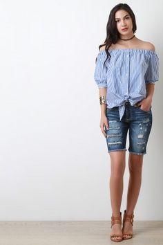 Distressed Frayed Hem Bermuda Denim Shorts
