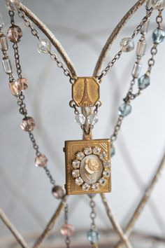We'll Always Have Paris-Vintage assemblage necklace eiffel tower locket cameo rosary chain assemblage jewelry-by French Feather Designs.