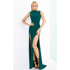 Mac Duggal 25034I Prom Under $300 Long High Neckline Sleeveless ($258) ❤ liked on Polyvore featuring dresses, emerald green, formal dresses, emerald green dresses, long formal dresses, emerald green long dress and emerald green prom dress