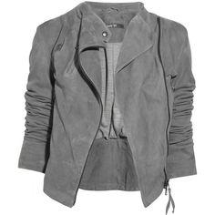 Lot78 Ziggy suede biker jacket (24.860 UYU) ❤ liked on Polyvore featuring outerwear, jackets, tops, coats, gray moto jacket, gray jacket, asymmetrical zip jacket, motorcycle jacket and gray suede jacket
