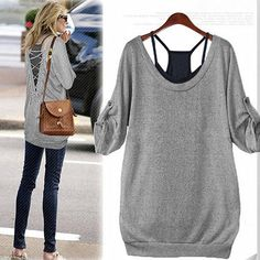 Criss-Cross Backless T-Shirt Twinset For Women