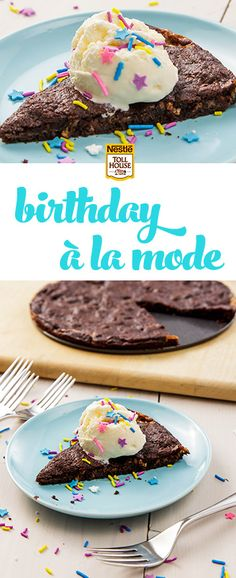"""Say """"Happy Birthday"""" with an easy Cookies A La Mode recipe made with NESTLÉ® TOLL HOUSE® Salted Caramel Cookie Dough. Party Idea: Let your guests decorate their cookies with an assortment of toppings for a custom birthday party dessert."""