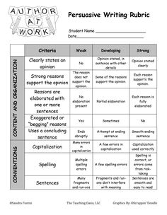 grade persuasive essay rubric Third Grade Writing Rubric – Persuasive Writing Focus Content Organization Style Conventions 4 The writing contains a clear focus with an Writing A Persuasive Essay, Paragraph Writing, Opinion Writing, Writing Rubrics, Persuasive Texts, Art Rubric, Argumentative Essay, Writing Lessons, Teaching Writing