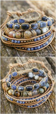 "Set of 3 Boho ""Tidal Breeze"" Multistrand Stack Bracelets, Bohemian Rustic Ocean Beachy Gypsy Stretch 5x Wrap Leather Jewelry Bracelets ByLEXY"