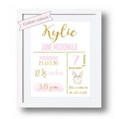 Baby announcement printable Personalized New baby by DorindaArt