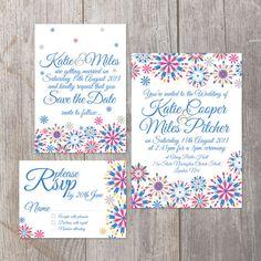 Vintage calligraphy style floral digital Printable DIY Wedding Invitation Suite in custom colours. £58.00, via Etsy.