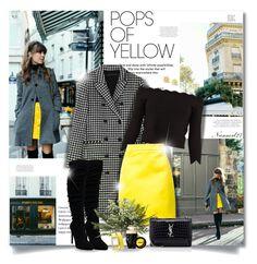 Get Happy: Pops of Yellow. Happy Pop, Get Happy, Gingham, Messenger Bag, Alexander Mcqueen, Yves Saint Laurent, Yellow, Coat, Skirts