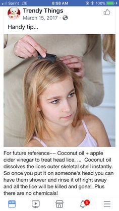 DIY Lice treatment: coconut oil and apple cider vinegar. Hair can be washed right away instead of having to marinate. DIY Lice treatment: coconut oil and apple cider vinegar. Hair can be washed right away instead of having to marinate. Simple Life Hacks, Useful Life Hacks, Mom Hacks, Baby Hacks, Kids And Parenting, Parenting Hacks, Future Mom, Camila, Health And Beauty