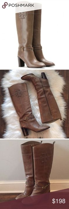 "•Tory Burch• Blaire Mid Heel Leather Boots Taupe Tory Burch Blaire Mid Heel Leather Boots in Taupe. A Logo Insignia Brands the Side Of a Tall Leather Boot with an Exposed Zipper on the Interior Shaft and a Chunky Stacked Heel. Approximate Heel Height 3 1/4"", Approx. Boot Shaft Height 15"", Calf Circumference 15"". Leather Upper and Sole; Printed Tory Lining. Scratching and Wear Throughout, Creasing, Scuffing on Heels, Wear on Soles, Please See Pictures. These are in overall Good Used…"