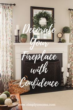 Simple fireplace decor ideas for spring and summer from decor boxwood green mirror mantel farmhouse Simple Fireplace, Farmhouse Fireplace, Fireplace Hearth, Farmhouse Decor, Cottage Farmhouse, Decorate Fireplace Mantles, Brick Fireplaces, Fireplace Redo, Fireplace Remodel