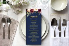 All Purpose Navy Blue Long Template, Printable Burgundy Floral White Wedding Menu Menu, All Text Edi Navy Wedding Colors, Chapel Wedding, Wedding Ceremony, Reception, Wedding Menu Template, Menu Cards, Fall Wedding, Elegant Wedding, Burgundy