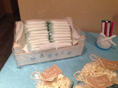 Cajita de pañales para escribirle mensajitos al recien nacido! Babyshower niño!