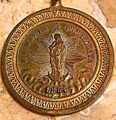 Antique 1854 Medal Our Lady Guadalupe Mary Immaculate Roma (Image1)Large, rare, round, 19th century holy medal featuring the Blessed Mother Virgin Mary immaculate as Our Lady of Guadalupe Mexico. The front is dated 1854. The back features Pope Leo XIII, ROMA.  Larger size that is perfect for a man