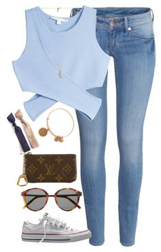 """""""casual"""" by whitegirlsets ❤ liked on Polyvore featuring H&M, Jonathan Simkhai, Converse, Rebecca Minkoff, Alex and Ani, Yves Saint Laurent and Louis Vuitton"""