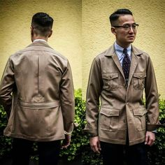 "merinobrothers: ""Thanks to Kenji's @mr.winston.ch and Ethan's @ethandesu distinguished taste and creativity, we can appreciate this beautiful safari jacket by @brycelandsco in Smith Woollens Original Solaro..."