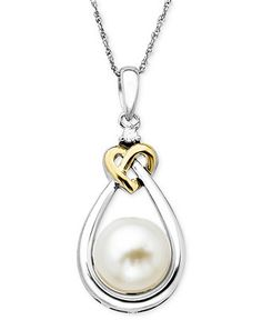 Pearl and Diamond Pendant, 14k Gold and Sterling Silver Cultured Freshwater Pearl and Diamond Accent Heart Pendant - Pearls - Jewelry & Watches - Macy's