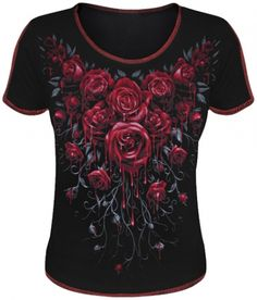 Tee Shirt Femme Spiral DARK WEAR - Blood Rose www.rockagogo.com Haut Gothique Pour Femme Avec un Bouquet de Roses en Sang