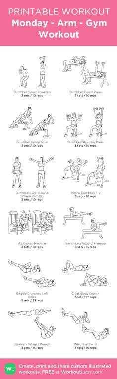Monday - Arm - Gym Workout: my custom printable workout by @WorkoutLabs #workoutlabs #customworkout