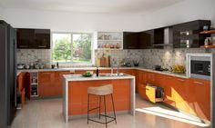 U shaped small parallel modular kitchen with kitchen island cabinets with kitchen cabinets design pics Flat Interior, Kitchen Interior, Home Interior Design, Interior Ideas, Kitchen Cabinets Color Combination, Kitchen Cabinet Colors, Kitchen Cupboard, Kitchen Sinks, Kitchen Countertops