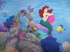 Little Mermaid nursery mural - HOME SWEET HOME - This room was one of the most exciting rooms Ive ever done. Little Mermaid Nursery, Mermaid Room, Little Mermaid Parties, Baby Mermaid, The Little Mermaid, Disney Playroom, Disney Rooms, Girl Nursery, Girl Room