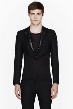 SAINT LAURENT Black wool & leather tailcoat