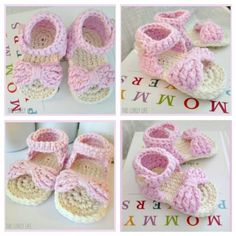 Bow Front Crochet Baby Sandals