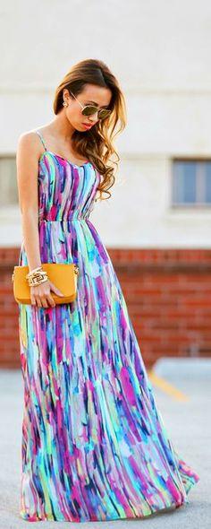 Thin strap colorful long maxi dress