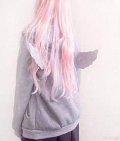 jacket pastel pastel goth kawaii cute pale grunge angel wings pink hair | Instagram: elllen.sarah