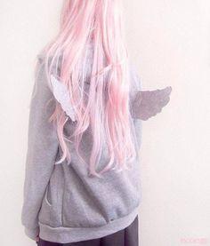 jacket pastel pastel goth kawaii cute pale grunge angel wings pink hair