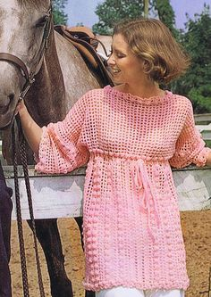 Vintage Crochet Empire Tunic Pattern in bust sizes Enjoy crocheting this empire style boat neck tunic pattern by Spinnerin. Crochet Tunic Pattern, Crochet Patterns, Crochet Blouse, Knitting Patterns, Vintage Crochet Dresses, Fifties Fashion, Sport Weight Yarn, Empire Style, Free Crochet