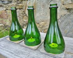 Wine Bottle Candle Holders Tea Light by ConversationGlass on Etsy