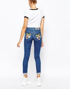 Image 2 of The Ragged Priest Skinny Jeans With Tiger Patch Bum