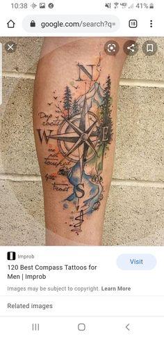 Pretty Tattoos, Cute Tattoos, Beautiful Tattoos, Body Art Tattoos, Awesome Tattoos, Nature Tattoos, Compass Thigh Tattoo, Compass Tattoo Design, Arm Cover Up Tattoos