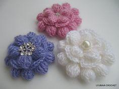 Crochet Flower Brooch PDF, Beautiful Mohair Brooch 3D Flower Cluster Stitch Crochet Pattern, Lyubava Crochet Flower Pattern number 85
