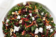 Crunchy with hazelnuts and full of nutritious add-ins this green salad will chase away the winter blues. Just remember to massage the kale first.