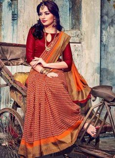 Dazzling Red Bhagalpuri Silk Casual Party Wear Sarees http://www.angelnx.com/Sarees/Party-Wear-Sarees