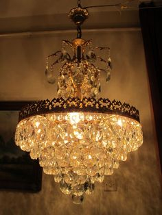 Antique Vintage Big French  Basket Style Crystal Chandelier Lamp 1940's.18 in. | Antiques, Architectural Antiques, Chandeliers | eBay!