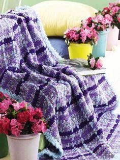 Crochet Monet Plaid Afghan free pattern.