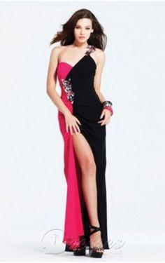 Unique Sheath Floor-length One Shoulder Multi Colours Chiffon Dress