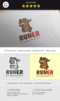 runner bear logo design - Animals Logo Templates