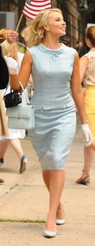 Pretty summer dress and pocketbook.
