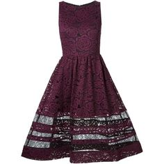 Alice+Olivia flared lace dress found on Polyvore featuring dresses, purple dress, purple lace cocktail dress, lace dress, flare dress and alice + olivia