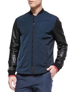 Vince Mixed-Media Varsity Jacket