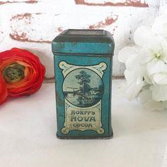 Rare Antique Dutch Cocoa Tin Litho Box Vintage Korff's Nova Advertising Holland Amsterdam Decorative Canister spice blue white delft by WonderCabinetArts