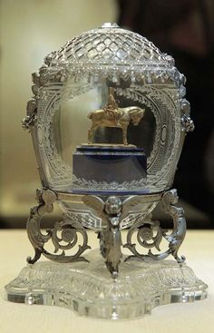 """The """"Alexander III Monument"""" egg by Faberge sits on display in the Kremlin April 6, 2011."""