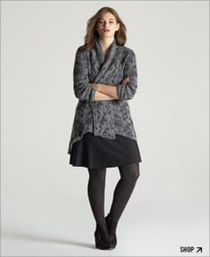 Designer: Eileen Fisher. Shawl Collard Cardigan in a Merino Camel Cloud.  Stunning soft-focus pattern that drifts between layers of grey. Look is comfy. The fabric luxury.