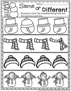 Snowman Same or Different Worksheets for Preschool. Snowman Same or Different Worksheets for Preschool. Kindergarten Math Worksheets, Preschool Learning Activities, Preschool At Home, Preschool Christmas, Preschool Themes, Preschool Lessons, Preschool Activities, Christmas Worksheets, Theme Noel