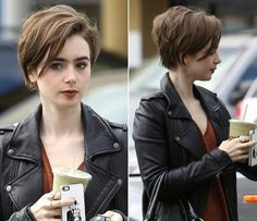 collins short hair Hair Short Cuts Bob Lily Collins 69 New Ideas Short Hairstyles 2015, Short Pixie Haircuts, Pixie Hairstyles, Bouffant Hairstyles, Haircut Short, Pixie Haircut For Thick Hair, Updos Hairstyle, Layered Hairstyles, Feathered Hairstyles